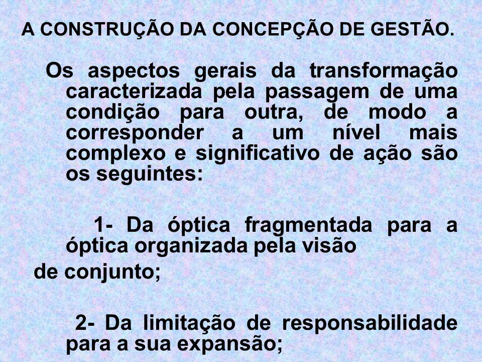 3- Da centralização da autoridade para sua descentralização; 4- Da ação episódica por eventos para o processo dinâmico, contínuo e global; 5- Da burocratização e hierarquização para a coordenação e horizontalização; 6- Da ação individual para a coletiva.