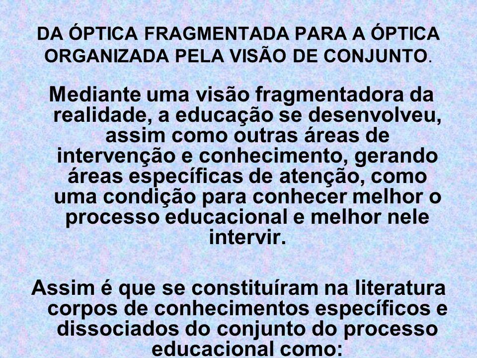 A psicologia da aprendizagem, A sociologia da educação, A filosofia da educação, A didática, A metodologia do ensino, A estrutura e funcionamento do ensino, A avaliação da aprendizagem, O currículo escolar, O planejamento educacional, dentre outros.
