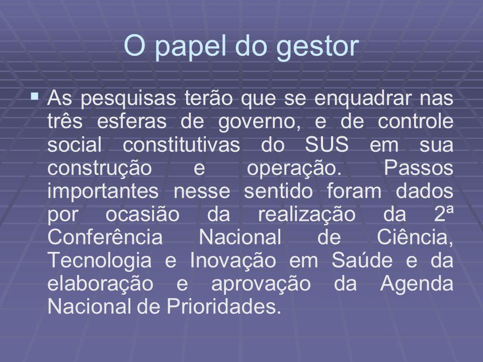 O papel do gestor As pesquisas terão que se enquadrar nas três esferas de governo, e de controle social constitutivas do SUS em sua construção e opera