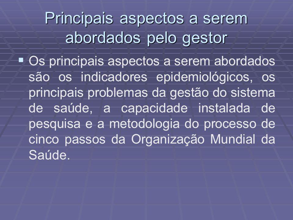 Principais aspectos a serem abordados pelo gestor Os principais aspectos a serem abordados são os indicadores epidemiológicos, os principais problemas