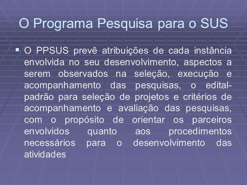 O Programa Pesquisa para o SUS O PPSUS prevê atribuições de cada instância envolvida no seu desenvolvimento, aspectos a serem observados na seleção, e