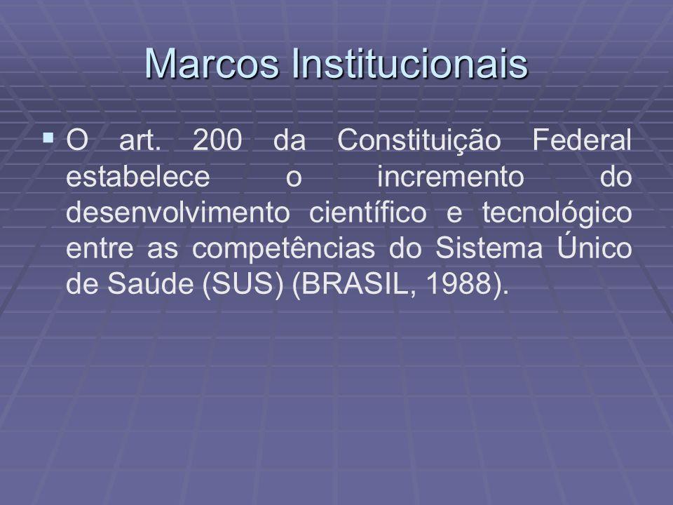 Marcos Institucionais O art. 200 da Constituição Federal estabelece o incremento do desenvolvimento científico e tecnológico entre as competências do
