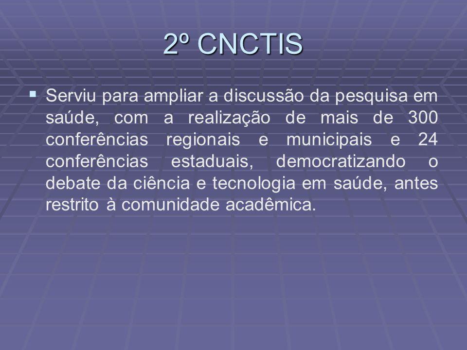 2º CNCTIS Serviu para ampliar a discussão da pesquisa em saúde, com a realização de mais de 300 conferências regionais e municipais e 24 conferências