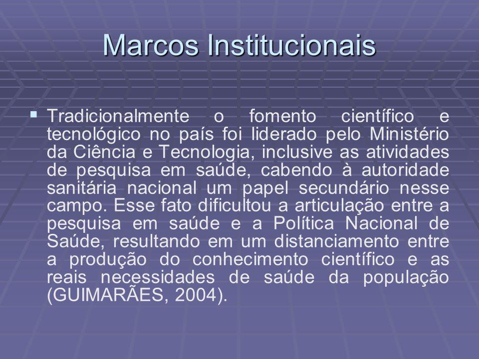 Marcos Institucionais Tradicionalmente o fomento científico e tecnológico no país foi liderado pelo Ministério da Ciência e Tecnologia, inclusive as a
