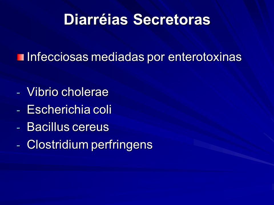 Diarréias Secretoras Infecciosas mediadas por enterotoxinas - Vibrio cholerae - Escherichia coli - Bacillus cereus - Clostridium perfringens