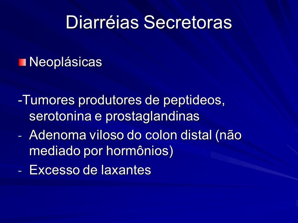 Diarréias Secretoras Neoplásicas -Tumores produtores de peptideos, serotonina e prostaglandinas - Adenoma viloso do colon distal (não mediado por horm