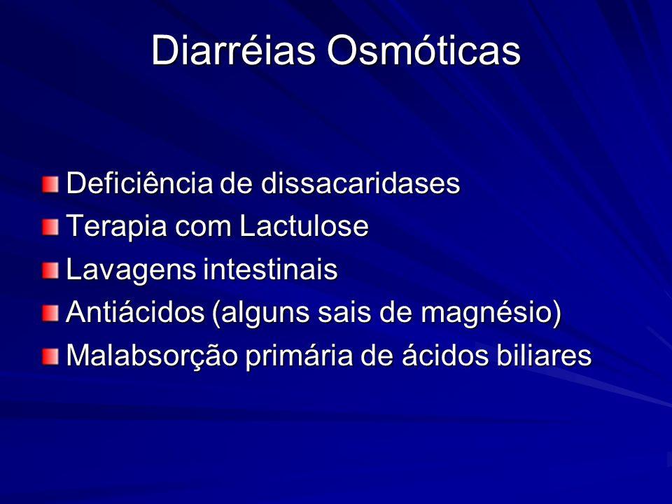 Diarréias Osmóticas Deficiência de dissacaridases Terapia com Lactulose Lavagens intestinais Antiácidos (alguns sais de magnésio) Malabsorção primária