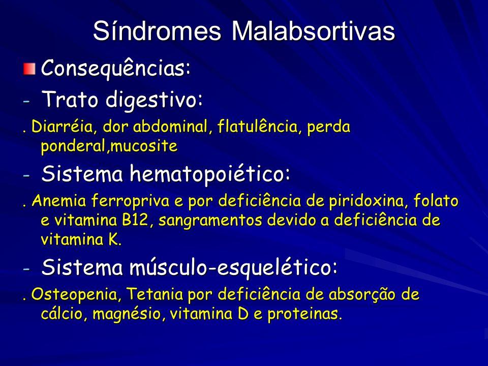 Síndromes Malabsortivas Consequências: - Trato digestivo:. Diarréia, dor abdominal, flatulência, perda ponderal,mucosite - Sistema hematopoiético:. An