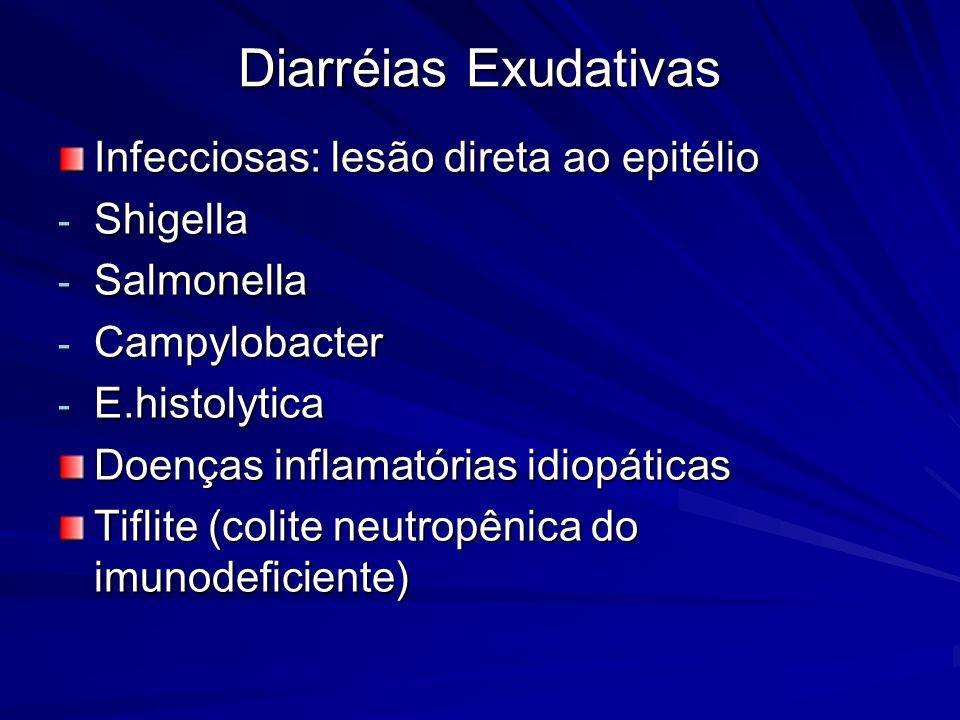 Diarréias Exudativas Infecciosas: lesão direta ao epitélio - Shigella - Salmonella - Campylobacter - E.histolytica Doenças inflamatórias idiopáticas T