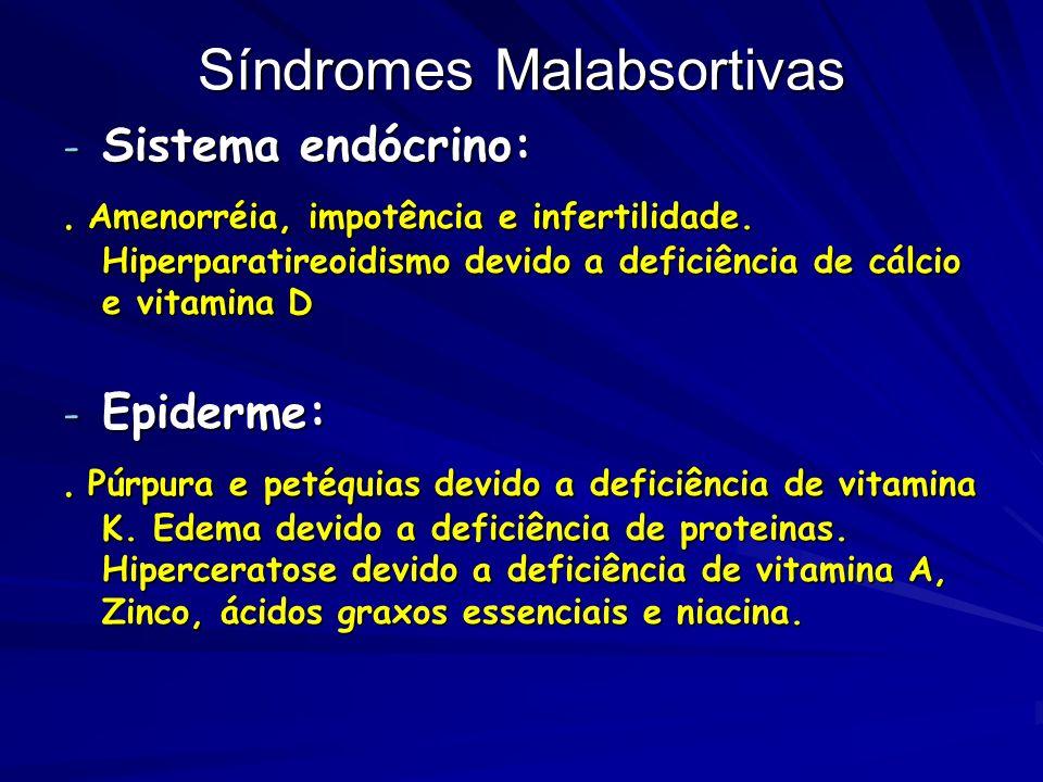 Síndromes Malabsortivas - Sistema endócrino:. Amenorréia, impotência e infertilidade. Hiperparatireoidismo devido a deficiência de cálcio e vitamina D