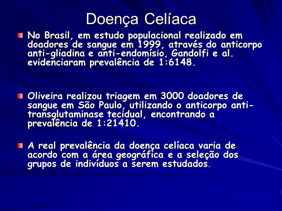 Doença Celíaca No Brasil, em estudo populacional realizado em doadores de sangue em 1999, através do anticorpo anti-gliadina e anti-endomísio, Gandolf