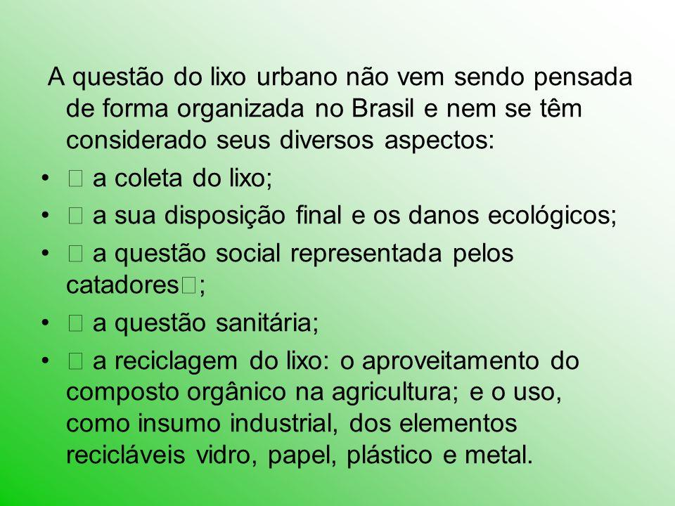 A questão do lixo urbano não vem sendo pensada de forma organizada no Brasil e nem se têm considerado seus diversos aspectos: • a coleta do lixo; • a