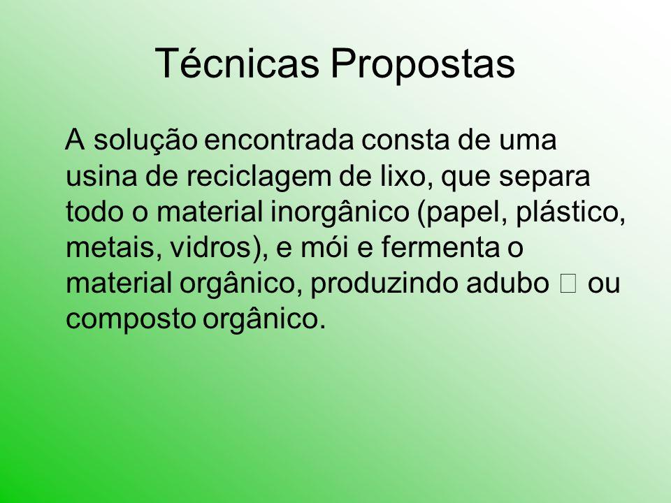 Técnicas Propostas A solução encontrada consta de uma usina de reciclagem de lixo, que separa todo o material inorgânico (papel, plástico, metais, vid
