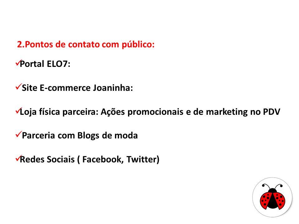 2.Pontos de contato com público: Portal ELO7: Site E-commerce Joaninha: Loja física parceira: Ações promocionais e de marketing no PDV Parceria com Bl