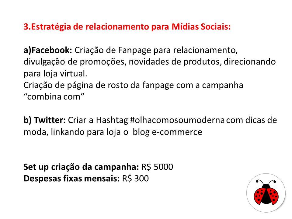 3.Estratégia de relacionamento para Mídias Sociais: a)Facebook: Criação de Fanpage para relacionamento, divulgação de promoções, novidades de produtos