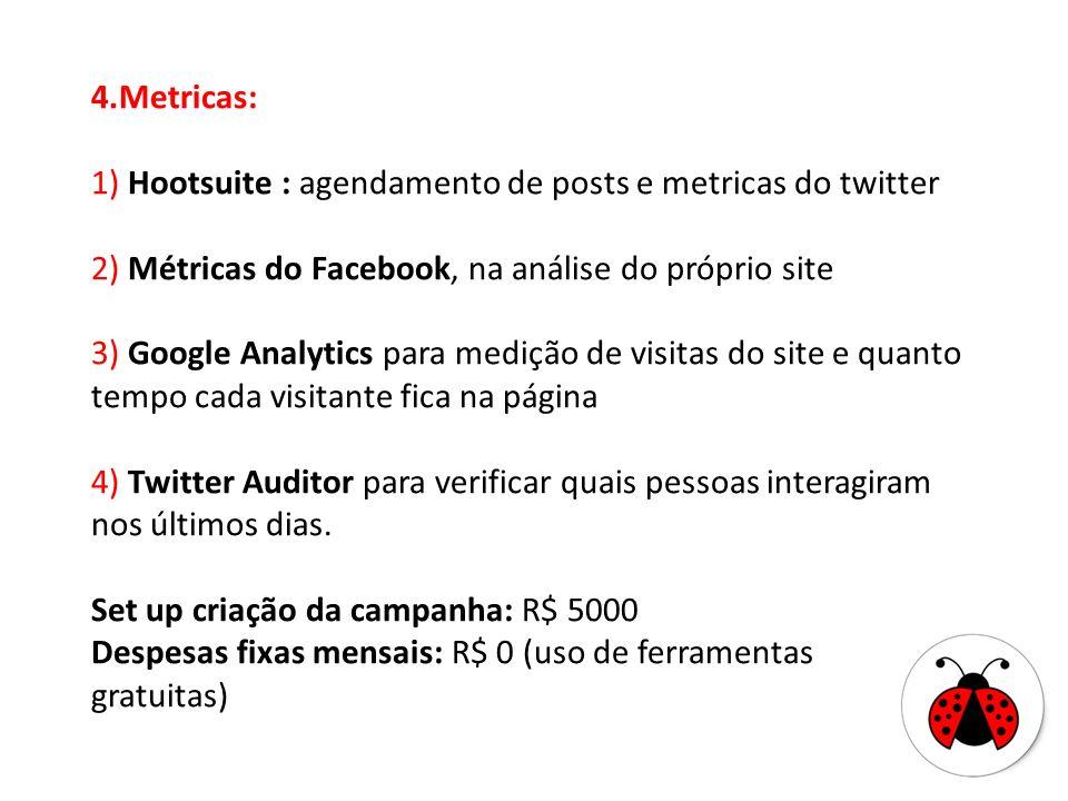 4.Metricas: 1) Hootsuite : agendamento de posts e metricas do twitter 2) Métricas do Facebook, na análise do próprio site 3) Google Analytics para med