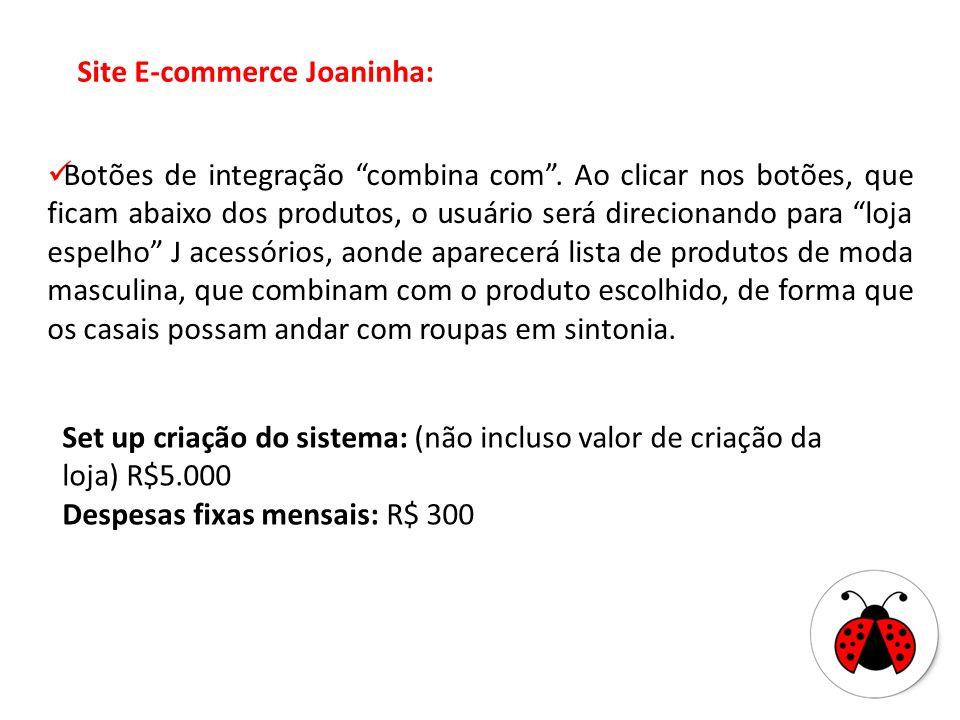 Site E-commerce Joaninha: Botões de integração combina com. Ao clicar nos botões, que ficam abaixo dos produtos, o usuário será direcionando para loja