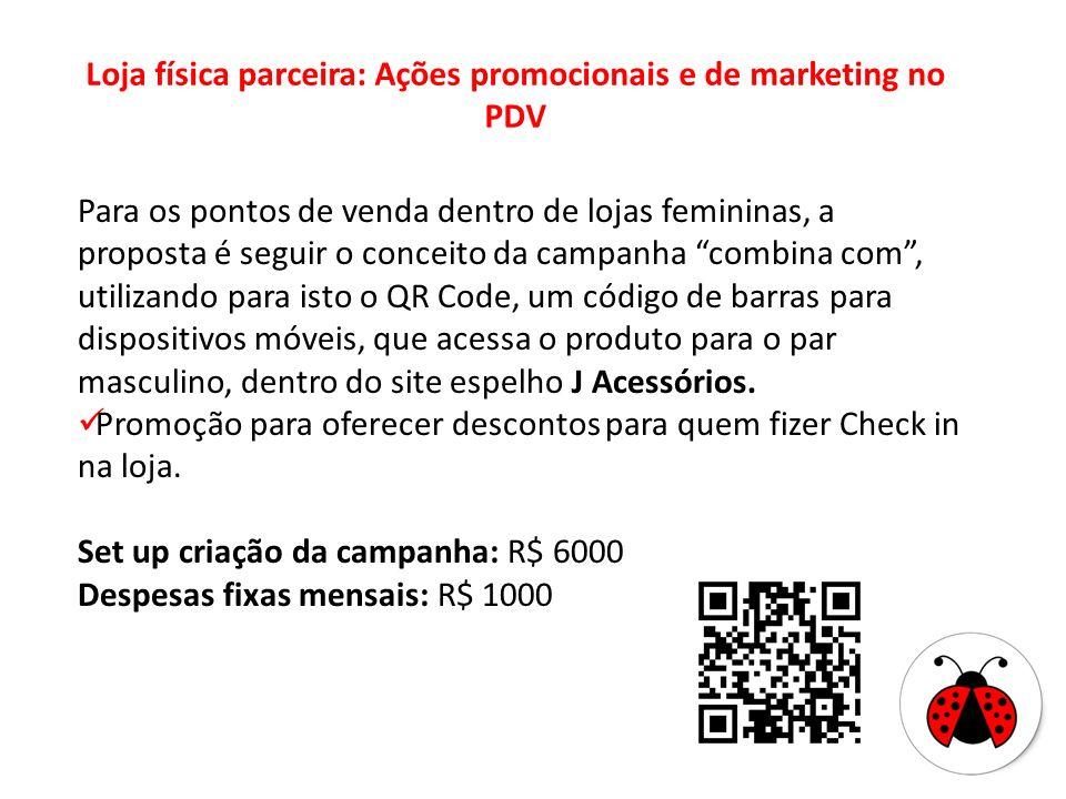 Loja física parceira: Ações promocionais e de marketing no PDV Para os pontos de venda dentro de lojas femininas, a proposta é seguir o conceito da ca