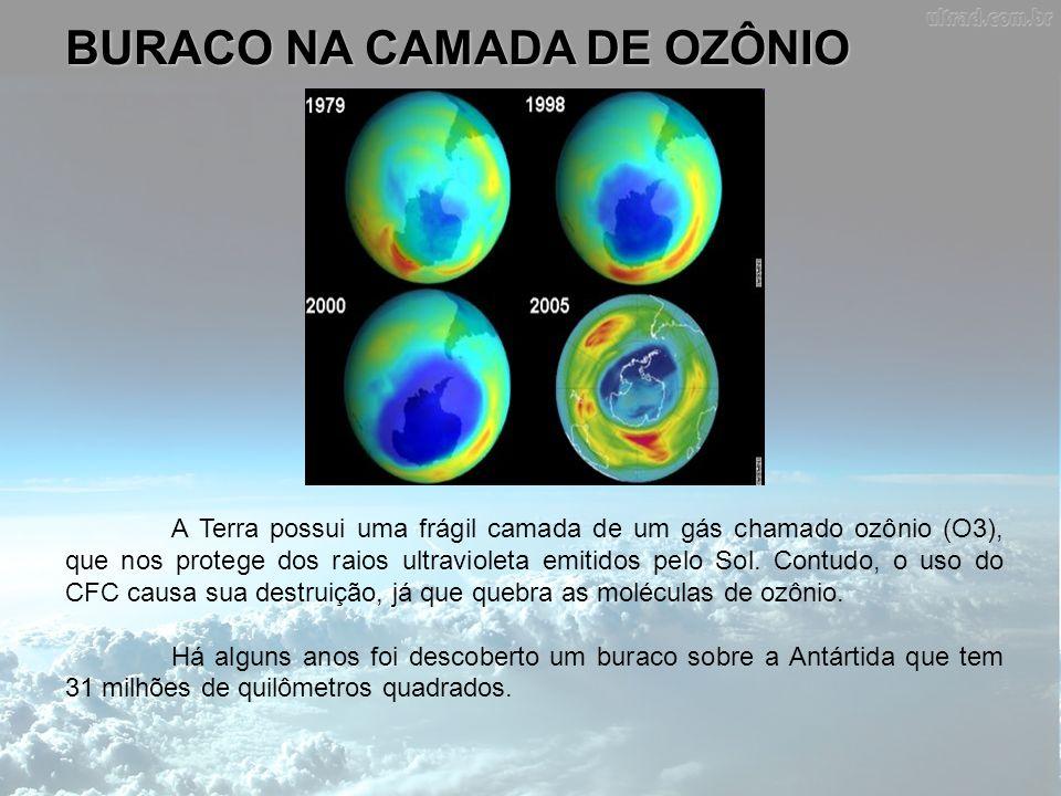 BURACO NA CAMADA DE OZÔNIO A Terra possui uma frágil camada de um gás chamado ozônio (O3), que nos protege dos raios ultravioleta emitidos pelo Sol. C