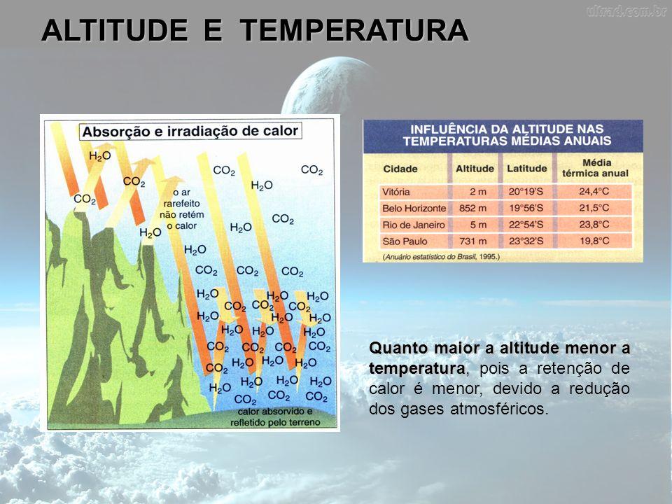 ALTITUDE E TEMPERATURA Quanto maior a altitude menor a temperatura Quanto maior a altitude menor a temperatura, pois a retenção de calor é menor, devi
