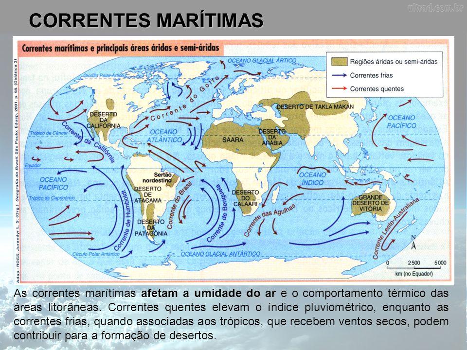 CORRENTES MARÍTIMAS As correntes marítimas afetam a umidade do ar e o comportamento térmico das áreas litorâneas. Correntes quentes elevam o índice pl
