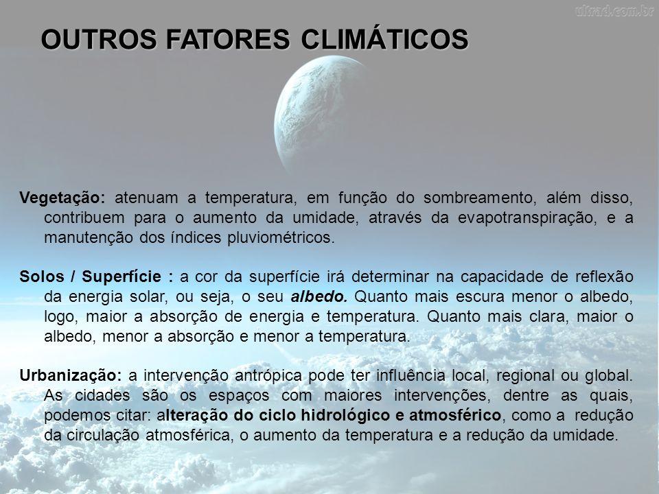 OUTROS FATORES CLIMÁTICOS Vegetação: atenuam a temperatura, em função do sombreamento, além disso, contribuem para o aumento da umidade, através da ev