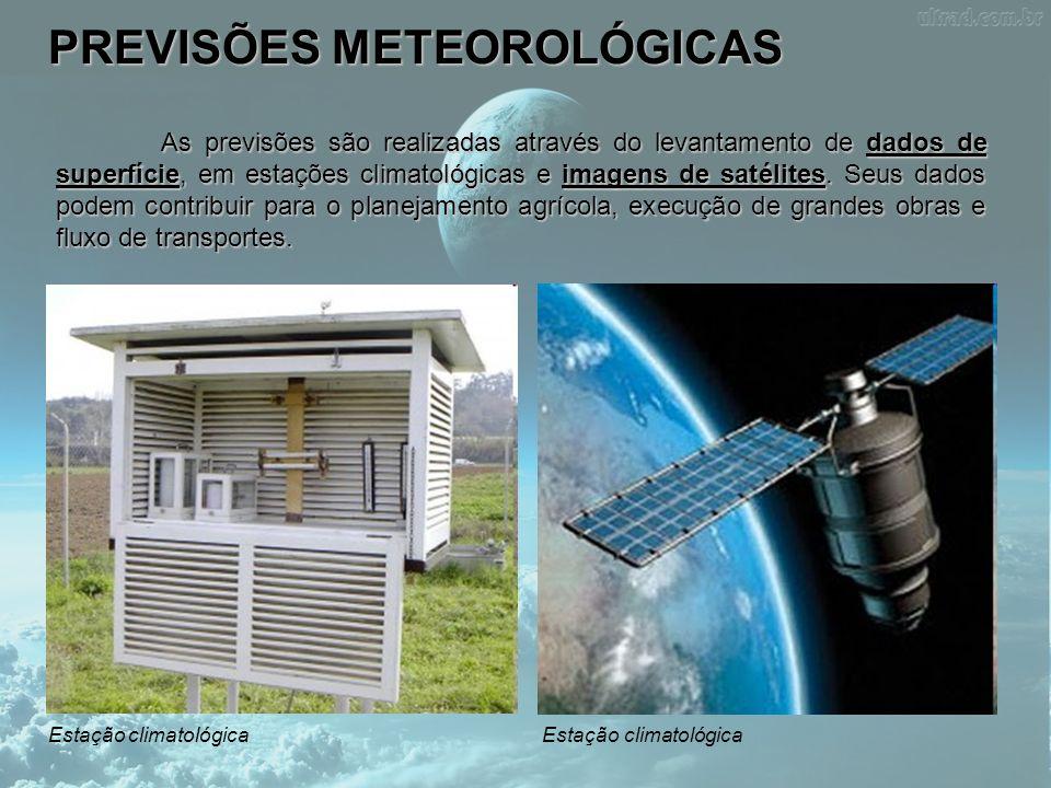PREVISÕES METEOROLÓGICAS As previsões são realizadas através do levantamento de dados de superfície, em estações climatológicas e imagens de satélites