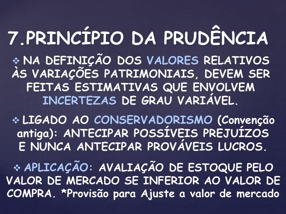 7.PRINCÍPIO DA PRUDÊNCIA NA DEFINIÇÃO DOS VALORES RELATIVOS ÀS VARIAÇÕES PATRIMONIAIS, DEVEM SER FEITAS ESTIMATIVAS QUE ENVOLVEM INCERTEZAS DE GRAU VA