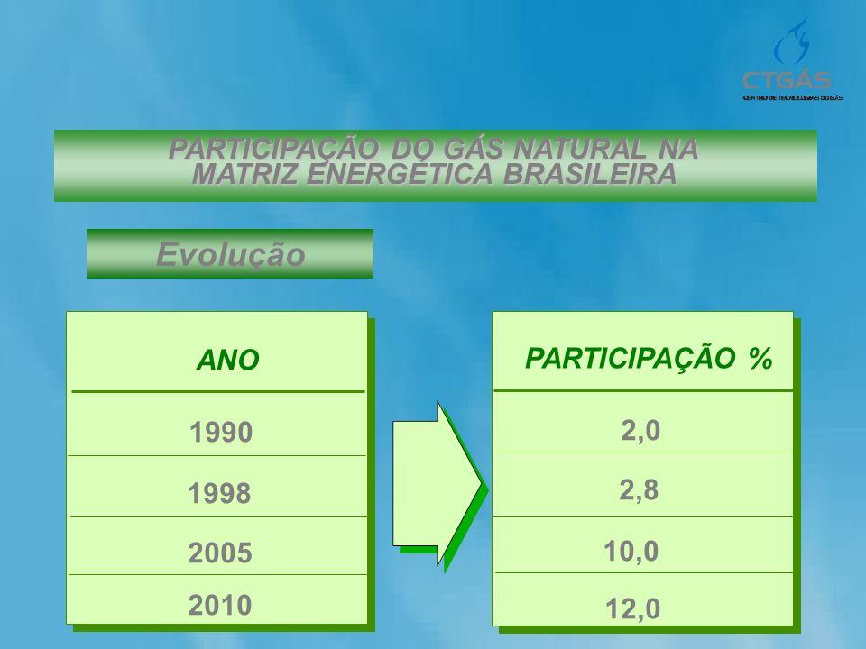Evolução ANO 1990 1998 2010 PARTICIPAÇÃO % 2,0 2,8 12,0 2005 10,0 PARTICIPAÇÃO DO GÁS NATURAL NA MATRIZ ENERGÉTICA BRASILEIRA
