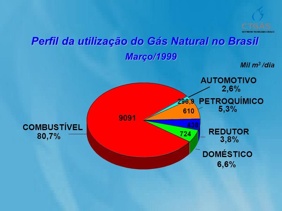 COMBUSTÍVEL DOMÉSTICO 6,6% REDUTOR 3,8% PETROQUÍMICO 5,3% AUTOMOTIVO 2,6% 724 438 610 296,9 Mil m 3 /dia 80,7% 9091 Perfil da utilização do Gás Natura