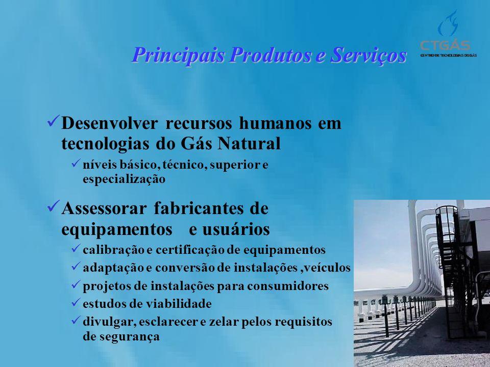 Principais Produtos e Serviços Desenvolver recursos humanos em tecnologias do Gás Natural níveis básico, técnico, superior e especialização Assessorar