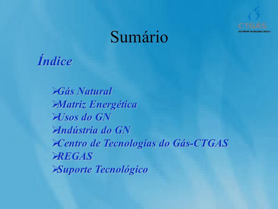 Sumário Índice Gás Natural Gás Natural Matriz Energética Matriz Energética Usos do GN Usos do GN Indústria do GN Indústria do GN Centro de Tecnologias