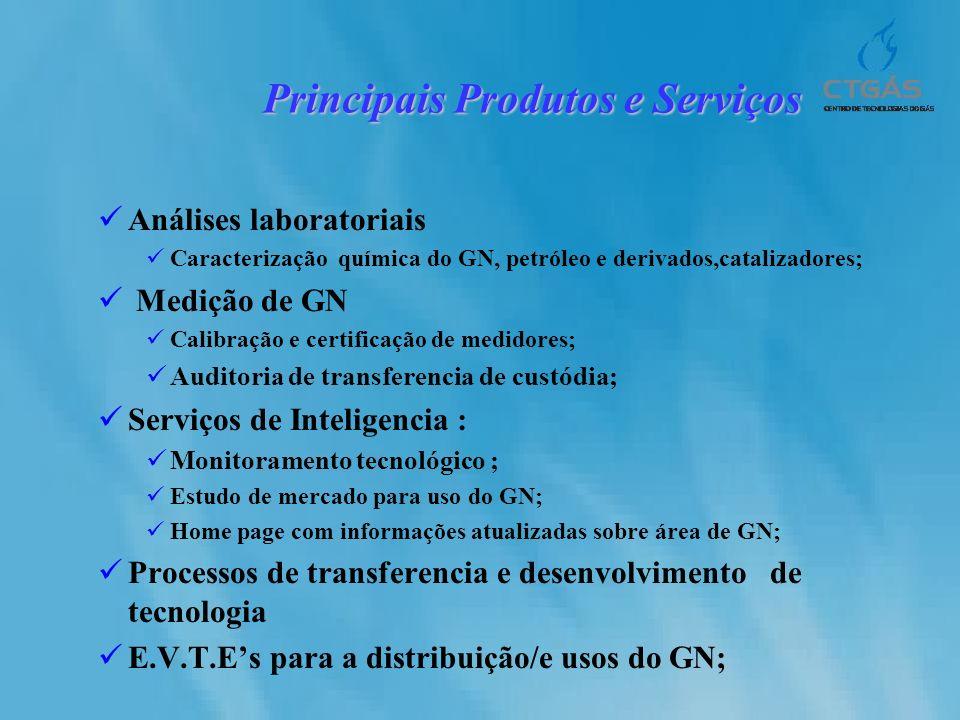 Análises laboratoriais Caracterização química do GN, petróleo e derivados,catalizadores; Medição de GN Calibração e certificação de medidores; Auditor