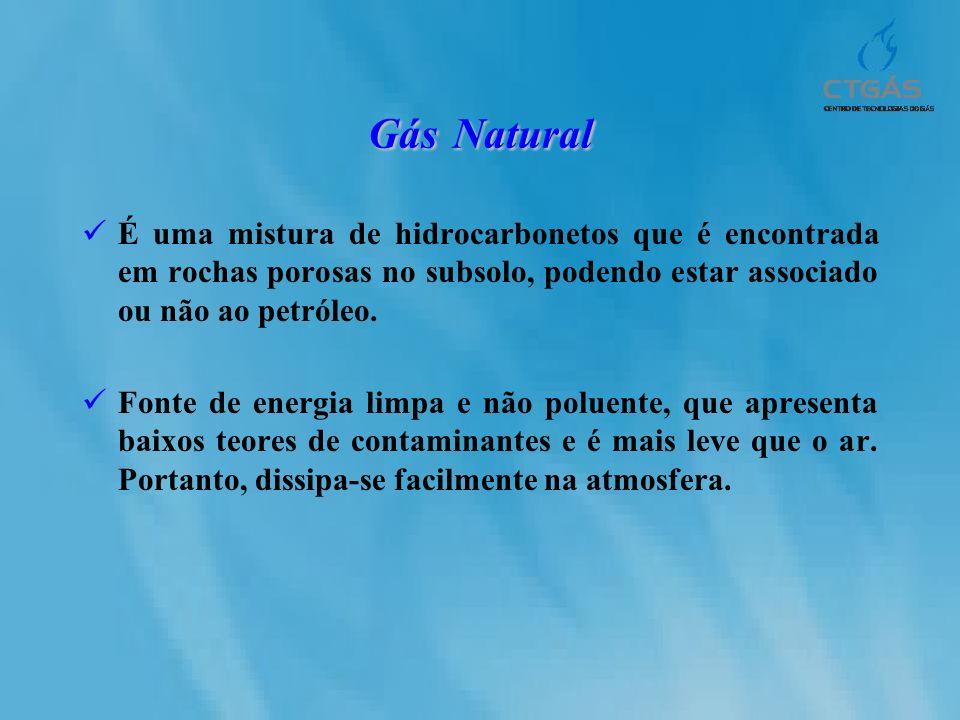 Gás Natural É uma mistura de hidrocarbonetos que é encontrada em rochas porosas no subsolo, podendo estar associado ou não ao petróleo. Fonte de energ