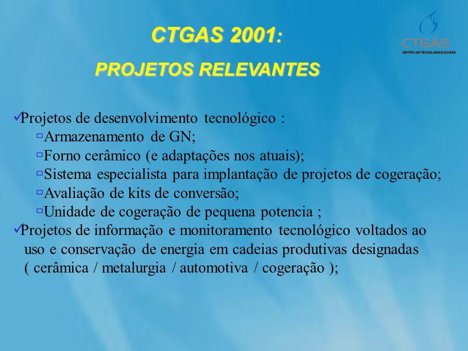 CTGAS 2001: CTGAS 2001: PROJETOS RELEVANTES Implantar mais 6 novos núcleos e upgrade qualificado em 6 do conjunto inicial ; Programa de conversão de fornos de padaria em 6 estados ; Implantar núcleo de EaD ; Ampliar oferta de cursos de pós-graduação; Desenvolver livro-texto sobre o G N; Start up dos laboratórios de GN fase I; Implantação dos laboratórios de GN fase II; Implantação de novos laboratórios de serviços ( testes de equipamentos domésticos; disposição de efluentes); Credenciamento dos laboratórios de serviços (ISO/INMETRO/ANP) e certificação dos laboratórios;