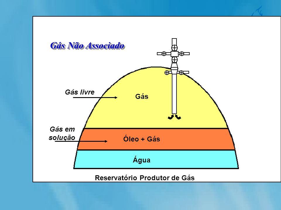 Gás Não Associado Reservatório Produtor de Gás Água Óleo + Gás Gás Gás livre Gás em solução