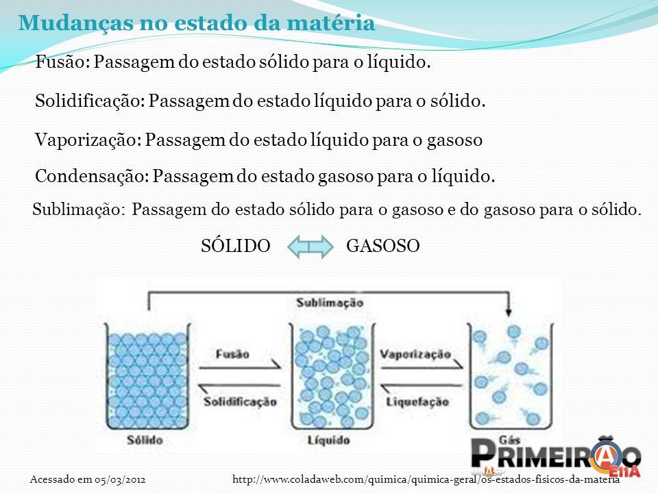 Mudanças no estado da matéria Fusão: Passagem do estado sólido para o líquido. Solidificação: Passagem do estado líquido para o sólido. Vaporização: P