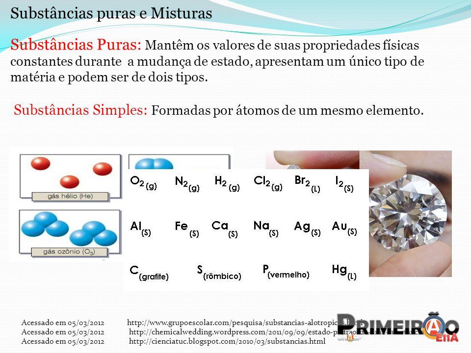 Substâncias puras e Misturas Substâncias Puras: Mantêm os valores de suas propriedades físicas constantes durante a mudança de estado, apresentam um ú