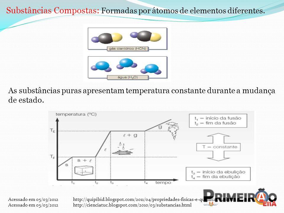 Substâncias Compostas: Formadas por átomos de elementos diferentes. As substâncias puras apresentam temperatura constante durante a mudança de estado.