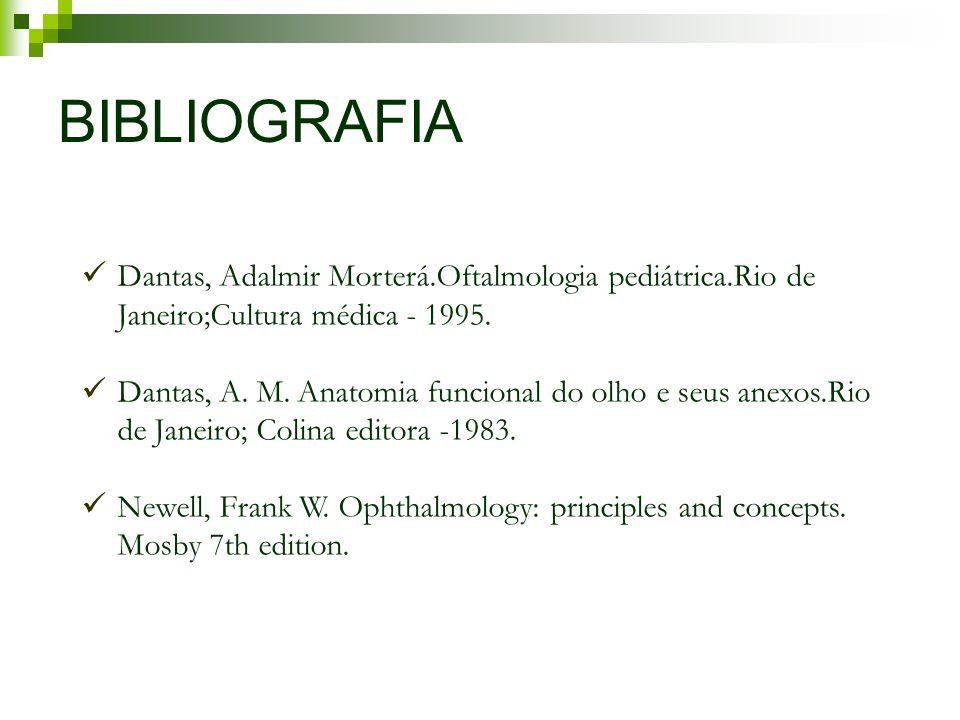 BIBLIOGRAFIA Dantas, Adalmir Morterá.Oftalmologia pediátrica.Rio de Janeiro;Cultura médica - 1995. Dantas, A. M. Anatomia funcional do olho e seus ane
