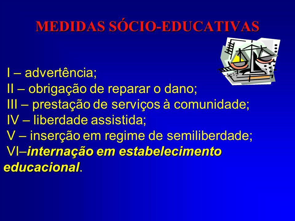 MEDIDAS SÓCIO-EDUCATIVAS I – advertência; II – obrigação de reparar o dano; III – prestação de serviços à comunidade; IV – liberdade assistida; V – in