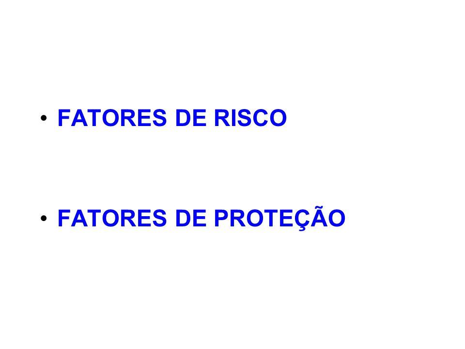 FATORES DE RISCO CARACTERÍSTICAS OU ATRIBUTOS DE UM INDIVÍDUO, GRUPO OU AMBIENTE DE CONVÍVIO SOCIAL QUE CONTRIBUEM, EM MAIOR OU MENOR GRAU, PARA AUMENTAR A PROBABILIDADE DO USO NOCIVO DE DROGAS NÃO EXISTE UM FATOR ÚNICO DETERMINANTE PARA O USO