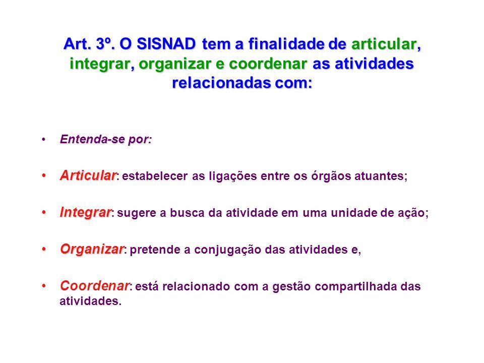 Art. 3º. O SISNAD tem a finalidade de articular, integrar, organizar e coordenar as atividades relacionadas com: Entenda-se por:Entenda-se por: Articu