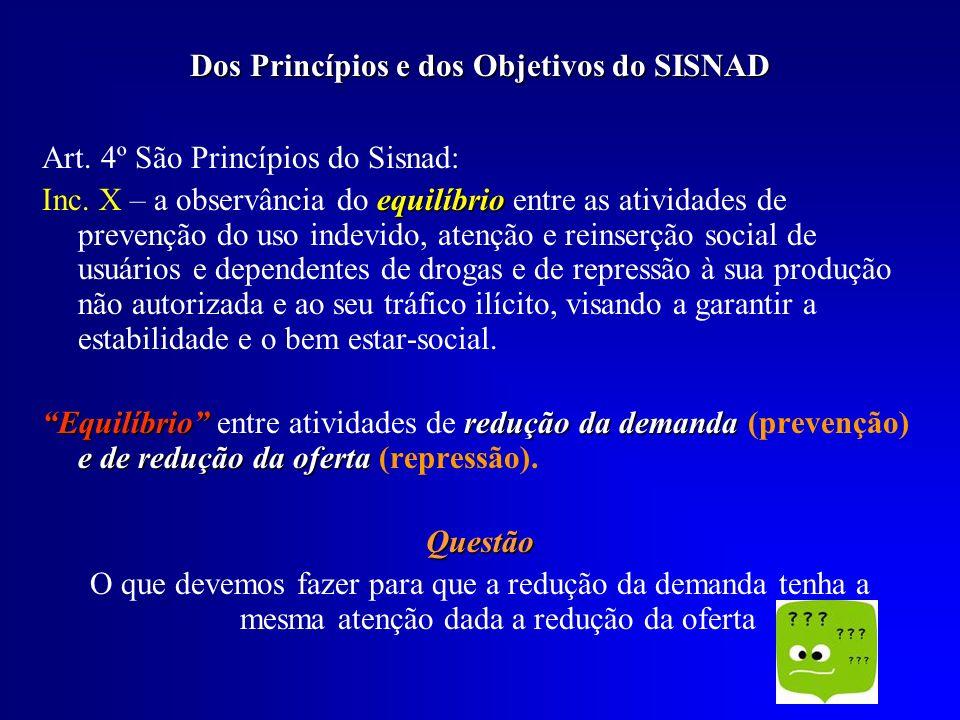Dos Princípios e dos Objetivos do SISNAD Art. 4º São Princípios do Sisnad: equilíbrio Inc. X – a observância do equilíbrio entre as atividades de prev
