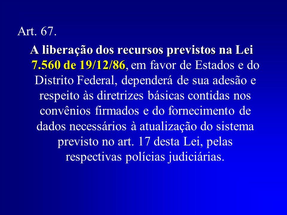 Art. 67. A liberação dos recursos previstos na Lei 7.560 de 19/12/86 A liberação dos recursos previstos na Lei 7.560 de 19/12/86, em favor de Estados