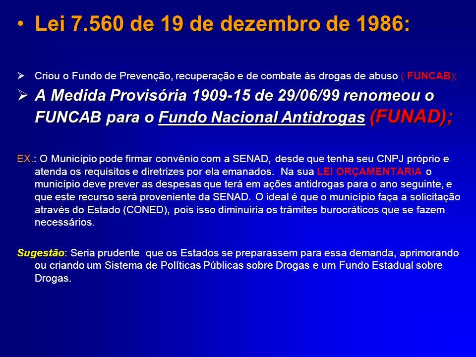Lei 7.560 de 19 de dezembro de 1986:Lei 7.560 de 19 de dezembro de 1986: Criou o Fundo de Prevenção, recuperação e de combate às drogas de abuso ( FUN
