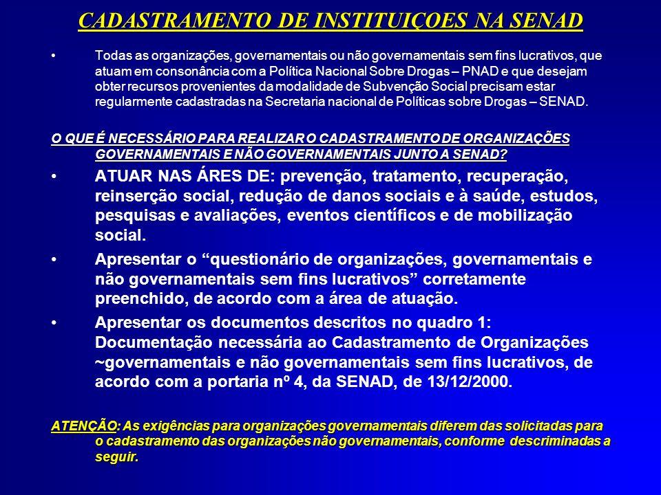 QUADRO 1: DOCUMENTAÇÃO NECESSÁRIA AO CADASTRAMENTIO DE ORGANIZAÇÕES GOVERNAMENTAIS E NÃO GOVERNAMENTAIS SEM FINS LUCRATIVOS: NºDOCUMENTAÇÃO NECESSÁRIALEGISLAÇÃO APLICÁVEL ESTADO DISTRITO FEDERAL E MUNICÍPIO ÓRGAO E ENTIDADE FEDERAL ENTIDAE FILANTRÓPI-CA ONG E OUTRA ENTIDADE SEM FINS LUCRATIVOS 1 Ofício, em papel timbrado, assinado pelo proponente, dirigido ao Secretário Nacional de Políticas Sobre Drogas, solicitando o cadastramento e encaminhando o questionário devidamente preenchido e a documentação necessária.