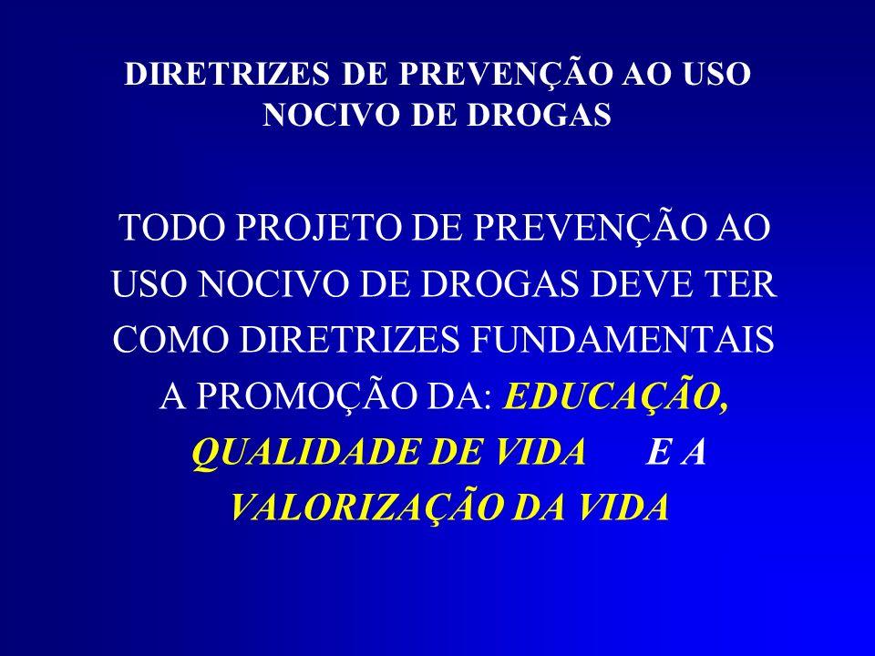 DIRETRIZES DE PREVENÇÃO AO USO NOCIVO DE DROGAS TODO PROJETO DE PREVENÇÃO AO USO NOCIVO DE DROGAS DEVE TER COMO DIRETRIZES FUNDAMENTAIS A PROMOÇÃO DA: