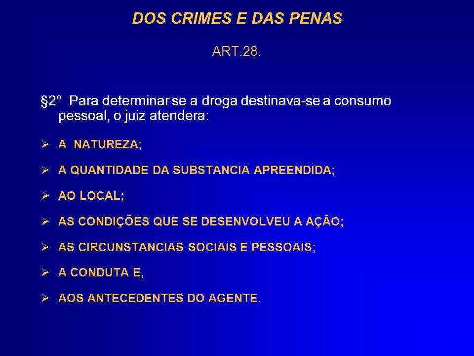 DOS CRIMES E DAS PENAS ART.28. §2° Para determinar se a droga destinava-se a consumo pessoal, o juiz atendera: A NATUREZA; A QUANTIDADE DA SUBSTANCIA