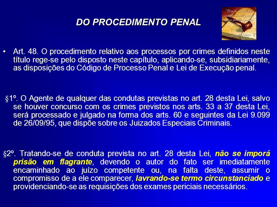 DO PROCEDIMENTO PENAL Art. 48. O procedimento relativo aos processos por crimes definidos neste título rege-se pelo disposto neste capítulo, aplicando